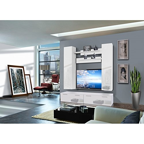 AC-Déco Ensemble Meuble TV Murale - Ledge II - 2 vitrines - Blanc