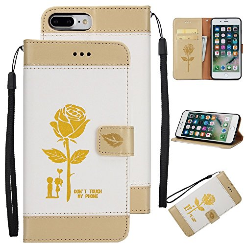 Dual Color Matching Premium PU Leder Flip Stand Case Cover mit Card Cash Slots und Lanyard für iPhone 7 Plus ( Color : Pink ) White