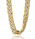 Halukakah Bling Hombres 18k Oro Verdadero Plateado Set de Diamantes Artificiales de Gran Cadena Cubana Collar 30'(75cm) con CajaDeRegaloGRATIS