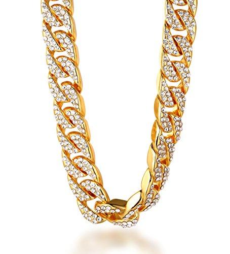 Halukakah ● Bling ● Männlich 18k Echt Vergoldet Diamanten Gesetzt Big Kubanische Kette Halskette 24