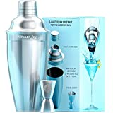 Kitchen Joy 2 Barware Set Premium Bundle with Jigger Built-in Strainer 24oz and Free Recipes eBook by