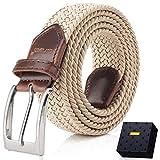 Fairwin Cintura Elastica Intrecciata per Uomo e Donna, Confortevole Cintura in Tessuto Elastico Stretch,per Jeans Pantaloni (M (vita 80-90cm/32-35), Beige)