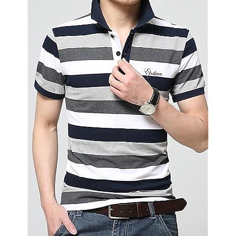 ZY/2016Estate nuova mens mezza manica Polo Lapel cotone a righe maglietta da uomo gioventù estate Tide, green-4xl