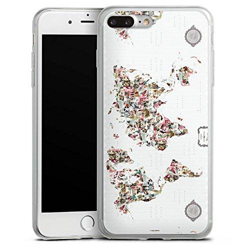 Apple iPhone 8 Plus Slim Case Silikon Hülle Schutzhülle Bunte Welt Muster Blumen Tiere Silikon Slim Case transparent