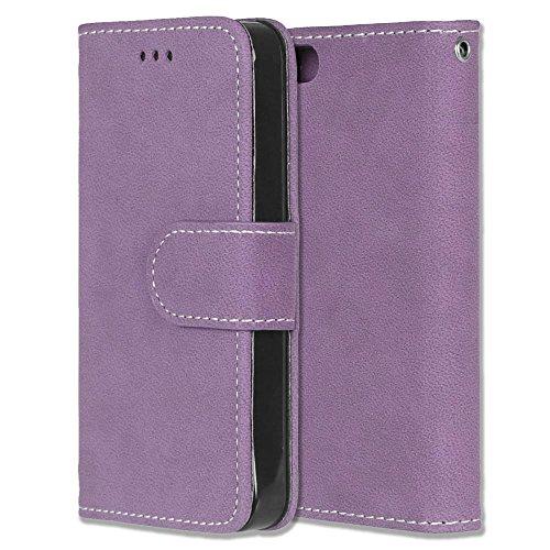 Chreey iPhone 5 5S SE Hülle, Matt Leder Tasche Retro Handyhülle Magnet Flip Case mit Kartenfach Geldbörse Schutzhülle Etui [Lila] 4 Gb Case