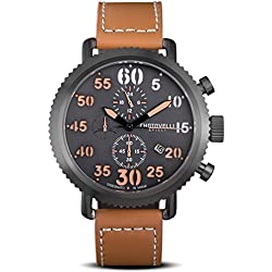Chotovelli Vintage Pilot Men's Watch Chronograph Analog display Brown Leather Strap 7200.13