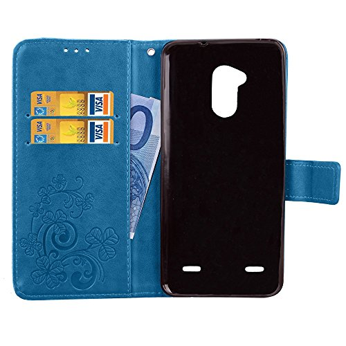Double Magnetic Back Sucktion Retro Style PU Leder Flip Stand Case mit Kickstand und Wallet Beutel Funktion für ZTE Blade V7 Lite ( Color : Brown ) Blue