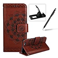 Rope Leather Case for iPhone 6S Plus,Strap Wallet Case for iPhone 6 Plus,Herzzer Bookstyle Classic Elegant Mandala Flower Pattern Stand Magnetic Smart Leather Case with Soft Inner for iPhone 6 Plus/6S Plus 5.5 inch + 1 x Free Black Cellphone Kickstand + 1 x Free Black Stylus Pen - Brown