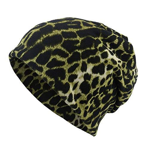 Zimuuy Unisex Beanie Mütze Leopard Print Schal Hat Lässige Outdoor Cabrio Windproof Hut (Grün) (Leopard Print Beanie)
