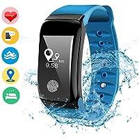 DAMIGRAM Pulsera Actividad, Pulsera Reloj Inteligente con Pulsómetro Impermeable IP67, Bluetooth 4.4, Notificación de SMS, Deporte Bluetooth Podómetro para Android IOS Smartphones Adultos Niños (Type 1 Blue)