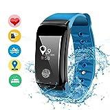 DAMIGRAM Fitness Tracker Wasserdichte Aktivitätstracker Bluetooth Fitness Armbänder mit Pulsmesser Schrittzähler Schlaf Monitor für Kinder Frauen Männer Android und ios (Type 1 Blue)