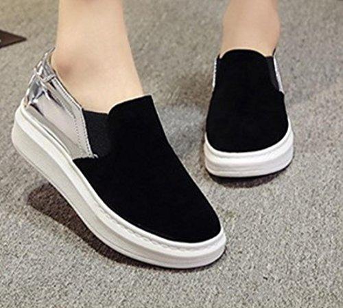 YCMDM Chaussures décontractées Nouveau chaussures plates Chaussures femmes Mode ronde tête respirante Silver