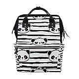 COOSUN Schwarzweiß-Panda-Bär Streifen-Muster Nappy Wickeltasche Windel Rucksacks mit Insulated Taschen Stroller Straps, großen Kapazitäts-Multi-Funktions-stilvoller Windel-Tasche für Mama Dad Außen