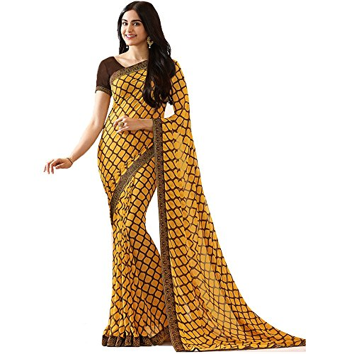 Calendar Women's Georgette Yellow & Brown Color New Fashion(2018) Saree With Unstitch...