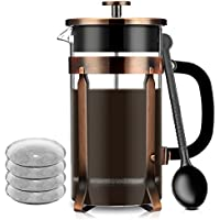 French Press, Famirosa French Press Coffee Maker for Coffee Tea Camping and Office (8 Cups, 1000ml, 34 Oz, 4 Filters)