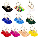 LUTER Quaste Creolen Ohrringe Böhmen Helle Farben sortiert Mode-Accessoire für Frauen & Mädchen(10 Paare)