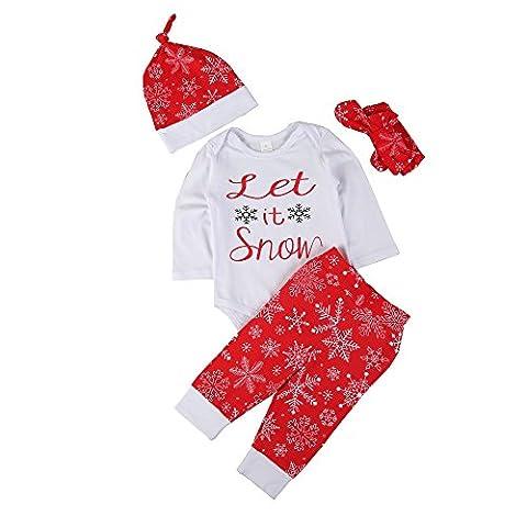 ESHOO Weihnachts-Outfits Set Baby Printed Strampler Tops + Lange Hosen + Hut + Stirnband