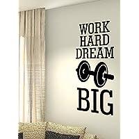 Work Hard Dream Big, peso MMA Salute Formazione motivazione allenamento palestra fitness sport Cuore vita famiglia love House Citazioni da parete vinile adesivi decalcomanie Art Decor fai da te