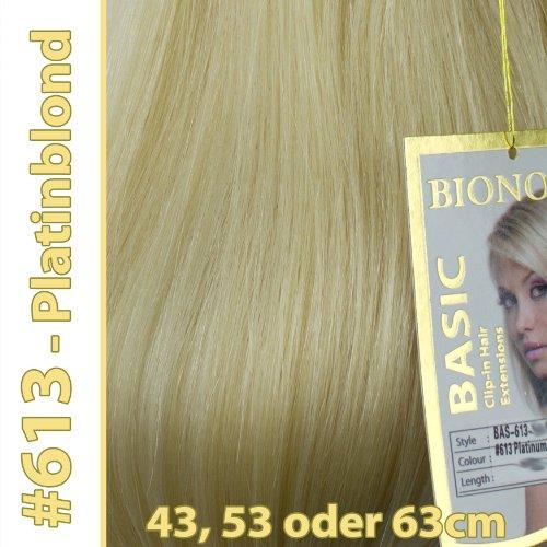 Clip-in Haar Extensions mit Echthaar, #613, Platinblond, in 40cm, 50cm od. 60cm (+), BASIC von BIONORA, Haarverlängerung