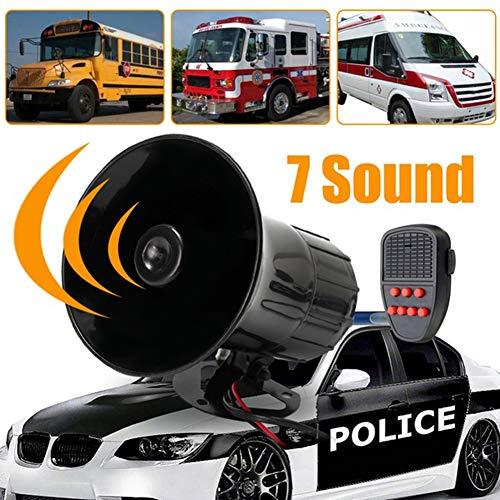 Sguan-wu 12 V 50 Watt Laut 7 Sounds Ton Horn Sirene Alarm Lautsprecher für Auto Motor Van LKW - Schwarz