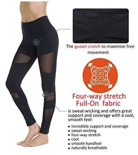 Queenie Ke Damen Leggings Technik Mesh Hohe Taille Elastique Jogging Yoga Pantalons Schwarz#4