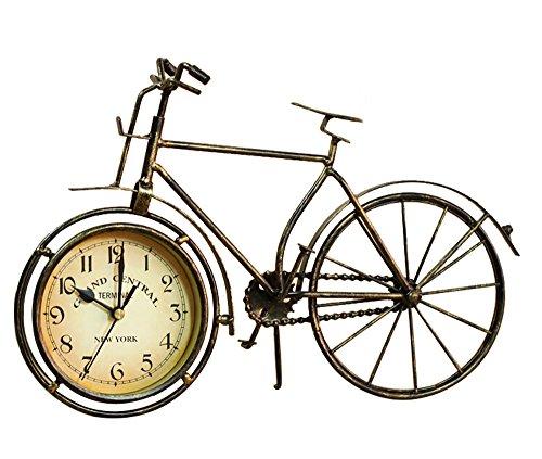Reloj de bicicleta vintage hovis.  NO TICKS, silencioso barrido silencioso del reloj digital, no importa cuán ruidoso sea el mundo exterior, todos necesitamos llevar una vida tranquila y cálida en casa.  Antigua forma de bicicleta de cobre crea un am...