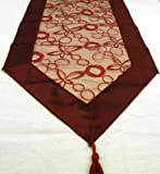 Table Runner Embroidered Swirl Design in Red/Wine/Burgundy