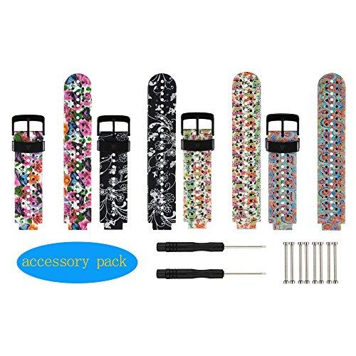 Bracelet de rechange HONECUMI pour montre connectée Garmin Forerunner 230 / 235 / 620 / 630 / 735XT - Taille unique - Avec accessoires, Butterfly/Honeysuckle/Owl/Paisley