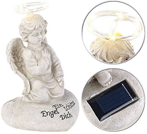 Lunartec - Angelo Solare con Angelo Custode, con Luce LED a energia Solare, 7 LED, 20 cm, IP44