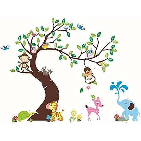 Adhesivo decorativo para pared con diseño de monos, elefante, cebra y maravilloso mundo animal, 189 x 143 cm