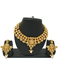 My Design Traditional Gold Plated AD Stone Wedding Necklace Set For Women And Girls