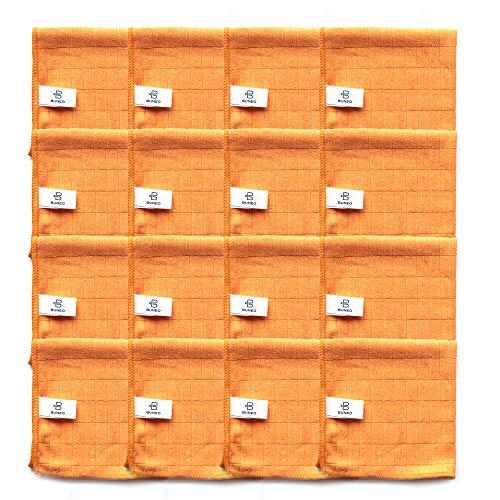 Good Day Microfasertücher (16 Stück) by BUNEO   16 x orange (Küche/Bad), jeweils 30 x 30 cm