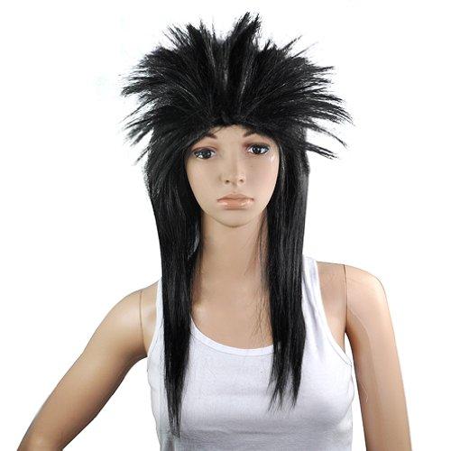 SODIAL (R) 80er Damen Glam Punk Rock Rocker-Kueken Tina Turner Peruecke fuer eine Kostuem - Schwarz