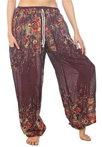 Lofbaz Mujer Cordón Floral 1 Harén Boho Pantalones Marrón S