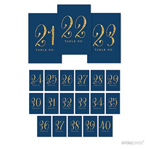 Andaz Drücken Tisch Zahlen Gold Glitzer Gold Glitter Navy Blue 21 to 40