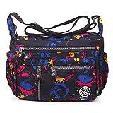ABLE anti-splash water Shoulder Bag Casual Handbag Messenger bag Crossbody Bags Multi-functional pocket design: can plug flat, book, wallet, etc (4-Customized(floral))