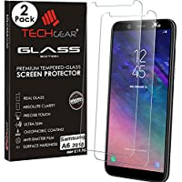 TECHGEAR [2 Pack] GLASS Edition for Galaxy A6 (SM-A600 Series) - Genuine Tempered Glass Screen Protectors Guard Covers Compatible with Samsung Galaxy A6 2018
