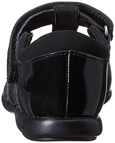 Clarks to School Trixi Bell Inf Chaussures en cuir enduit noir verni Noir - Noir verni