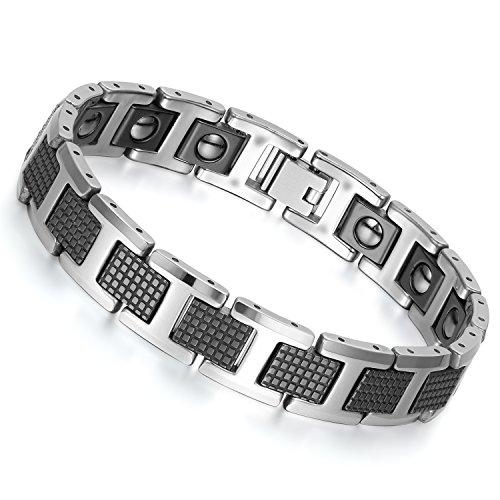 4bbb339f198 Flongo Bracelet Homme Tungstène Acier Aimanté Magnétique Manchette  Rectangulaire Couleur Noir Longueur 20cm