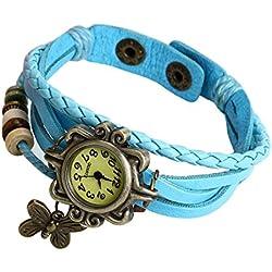 kingko® Neueste Quarz Art und Weise Webart um lederne Armband Dame Woman Armbanduhr (Himmelblau)