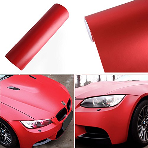 Preisvergleich Produktbild 2 PCS Auto Folie Matt 150 X 30 CM BLASENFREI selbstklebend flexibel Lackschutz Folie DIY Deko Folie folieren Car Wrapping Folie (rot matt)