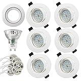 Faretti LED da Incasso per cartongesso,5 W Equivalenti a 60 W, Naturale Bianco Freddo 4500K 600LM orientabili 120 Gradi AC 220-240V(Set da 6 4500K Rotonde Bianche) (Set da 6 4500K rotonde bianche)