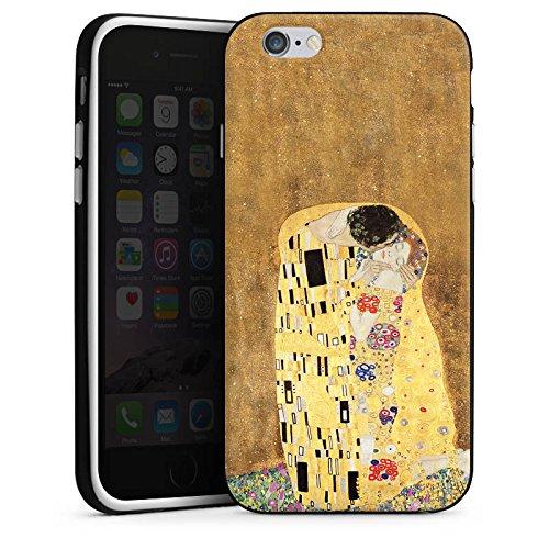 Apple iPhone 6s Plus Silikon Hülle Case Schutzhülle Klimt The Kiss Kunst Silikon Case schwarz / weiß