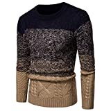 SuperSU Herren Gradient Winter Pullover Strick Top gestreiften Pullover Outwear Bluse Herren Pullover Knit Crew Neck Lässige Hoodie Sweatshirt für Männer Basic Kapuzenpullover Sport Outwear