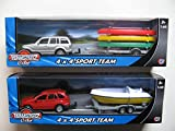 NEW TEAMSTERZ CITY 4 X 4 SPORT TEAM CARS BOAT SHIP SPEED SPORT BOAT TRAILER 4X4 CAR TOWING SCALE 1:60 KIDS FUN CRAFT VEHICLE TEAMSTERS TOY