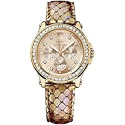 Juicy Couture Pedigree Women's Quartz Watch with Gold Dial Analogue Display and Gold Leather Strap 1901065