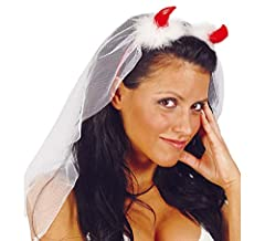 Idea Regalo - GUIRCA SL.. - Velo Sposa con Corna Diavolo, Colore Bianco e Rosso, GU_16290