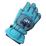 Kinder Winter Ski Handschuhe Warm Wasserdicht Rutschfest Skifahren Schnee Handschuh Full Finger Schutzhands für Outdoor Snowboard Radfahren (Himmelblau, für 6-8 Jahre Alt Kinder)