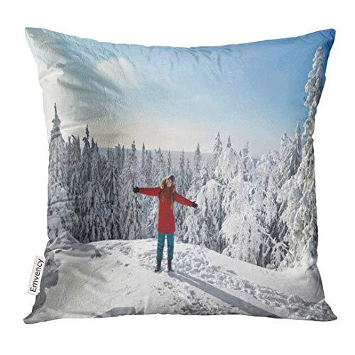Throw Pillow Cover Happy Hiker Girl at The Top of Mountain in Finland Europe Kolin Kansallispuisto North Karelia Scenery Decorative Pillow Case Home Decor Square 18x18 Inches Pillowcase - Pillow-top-schaum