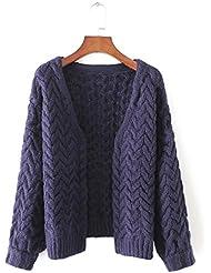 Nuevo liso cuello de las mujeres abrigo capa de suéter